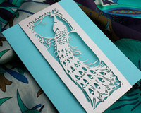 art deco wedding invitations - Newest Newmengxing Wedding Invitation Art Deco Peacock Laser cut belly band invitation card for your wedding