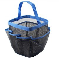 Wholesale Blue Fuchsia Bathroom Shower Storage Caddy Pockets Mesh Bag Bath Soap Makeup Organizer Holder