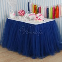 Wholesale 100cm x cm Navy Blue Tulle Tutu Table Skirt Tulle Table Skirting Tableware Wedding Birthday Baby Shower Chrismas Party Table Decoration