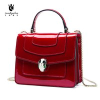 Wholesale Fashion patent leather chain bag small square package Enamel smugglers cross bags women s luxury handbags for gift