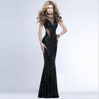 Wholesale Elegant Sequins Split Sexy Evening Dresses Appliqued Round Neck Mermaid Long Maxi Prom Dress Sweep Train Tulle Beaded Formal Gowns