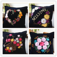 Wholesale Pression Printing Ribbon Cross Stitch Sweet Hearted Floral Decoration Embroidery Pillow Case DIY Unfinished Stitching Needlework Gift