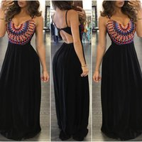 Wholesale 2016 Sexy Dress Women Sleeveless Dresses Vintage Long Print Maxi Dress Beach Casual Dress Hot Sale