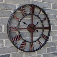 Wholesale 1pcs cm Creative wall clock The hotel bar cafe wall decoration clock industrial retro wall clock with Roman numerals