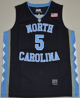 Wholesale North Carolina Tar Heels Marcus Paige Game Elite V Round Neck White Blue Jersey Shirts Uniform