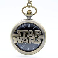 antique mens necklace pendant - Fashion Bronze STAR WARS Sci fi Science fiction movies Quartz Pocket Watch Analog Pendant Necklace Mens Womens Watches Gift