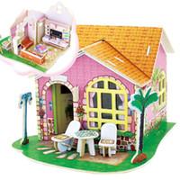 Wholesale DIY Wood Dream House Child Educational D Puzzles Jigsaw Toys K5BO
