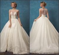 beach cape - Capes Sleeve Gorgeous Wedding Dresses Amelia Sposa Vintage Lace with Detachable Train Luxury Overskirts Bridal Gowns Vestido De Novia