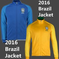 Wholesale 2016 Brazil home and away Man s Soccer jackets Brazil home yellow Thai quality soccer coats training suit jogging skinny