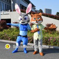 Wholesale 2016 nouveau agent Judy Hopps lapin et Nick renard mascotte Zootopia Costume de mascot faits sur mesure