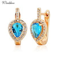 Wholesale 2016 New Design Pear Cut Blue Topaz With CZ Around Teardrop Hies Small Hoop Earrings for Women K Gold Plated Jewellery Aros
