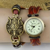 antique round brass table - 2016 antique watches for men and women punk retro leather bracelet watch neutral table casual fashion watches bloodthirsty Langtou student h