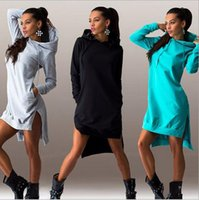 Wholesale Women hoodies Plus Size Clothing Hooded Pullover New Womens Hoody Sweatshirts Fashion Irregular Long Sleeve Sweater Hoodie Dress