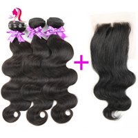 Wholesale 7A Brazilian Hair Bundles With Closure Virgin Human Hair Products Double Weft B Body Wave With Front Lace Closures