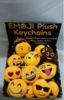 Wholesale QQ Emoji Plush Pendant Key Chain Fashion Emoji Smile Emothion Yellow Cute Expression Plush Dolls Cartoon Plush Pendant Car Chain B4023