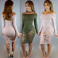 bandages for burns - Sexy Solid Color Burning Flower Holes Bandage Skirt Chiffon Beach Maxi Casual Dress Long Sleeves Suit dress Bodycon Party For Women Dresses