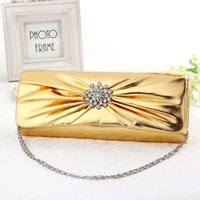 Wholesale High Quality Women Handmade PU chain Evening Bag with Crystals shape Day Female women Handbag new style Party weddings bag Crossbody gold