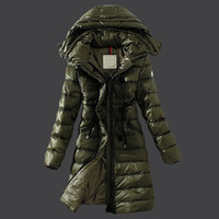 belted down jacket - Army green long down parka Winter jacket women waist belt winter Outdoor warm coat Long sleeve Ladies Anorak