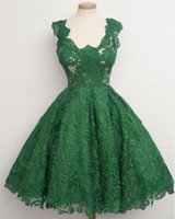 Wholesale U0005 Vestidos Scoop Green Lace Dress Short Formal Women Gown