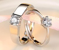 Wholesale Fashion Jewelry Adjustable Stainless Steel Silver Rhinestone Simple Circle Real Love Couple Ring Wedding Rings Valentines Gift