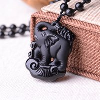 antique elephant statue - Elaborate Chinese handmade collection Obsidian baby elephant statue Pendant