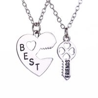 best friends key chain - 2016 Fashion New Style Peach Heart Key Pendents Carved Best Friends Combination Necklace Set Brothers Girlfriends Gifts Drop ShippZJ