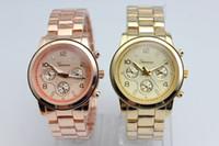 Wholesale Geneva Watch Stainless Steel Watches wristwatches Unisex Business Quartz watches Set Watches
