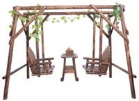 Wholesale Outdoor Furniture Wooden Double Rocking Chair Outdoor Patio Swing