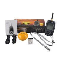 Wholesale FF998 Fish finder Upgrade Russian menu Rechargeable Waterpoof Wireless Fishfinder Sensor New KHz Sonar Echo Sounder