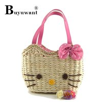 corn husk - The cat corn husk straw bag beach bag made by hand Kitty Bag Series Straw Totes Series