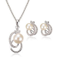 african american fashion designers - hot sale quality designer k gold plated New European and American fashion Pearl Diamond Necklace Earring jewelry set