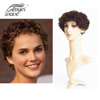 Wholesale Angel Wave Human Hair Lace Front Wigs Black Women Medium Brown Color inch Cheap Price Short Curly Machine Made Lace Front Wig