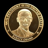 Wholesale 20 The president of United states Barack Obama America k gold plated souvenir coin Christmas gift office art