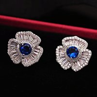 baguettes jewelry - Formal Party Jewelry Three Petals Sapphire Flower CZ Stud Earrings Blue Silver Baguette Cut Small Zirconia Pave Floral Earrings for Women
