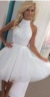 apple cutouts - Luxury White Short Prom Dresses High Neck Crystal Beaded Cutout Back Mini Homecoming Cocktail Party Gown th Grade Graduation Wear
