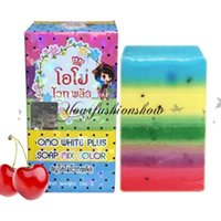 Wholesale Free DHL Gluta Whitening Soap rainbow soap OMO White Mix Fruits Color Alpha Arbutin Anti Dark Spot L266