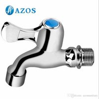 bathroom tap parts - AZOS Mop Bibcock Single Cold Wall Mounted Chrome Polish Outdoor Garden Tap Bathroom Basin Faucet Toilet Parts Replacement PJTB016