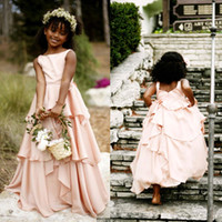 africa weddings - Bohemian Latest Blush Pink Africa Flower Girl Dresses For Weddings Cheap Jewel Backless Tiered Ruffles Floor Length Formal Dress EN6145