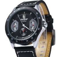 alloy winner - New Arrival Luxury Mechanical Watch with Calendar Round Dial and Leather Watchband for Men