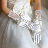 garden gloves - 2016 Cheap White Ivory Bridal Gloves Lace Bowknot Satin Full Finger Fall Garden Spring Wedding Accessory Bride Glove To Party Evening Prom