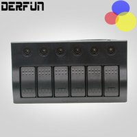 Wholesale 6 Group LED Yacht RV Control Panel Switch Marine Waterproof Boat Rocker Switches Panel Overload Protection Ship Accessories