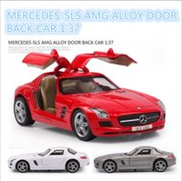 Wholesale Mercedes Sls Amg Scale Emulational Electric Alloy Diecast Models Car Toys Brinquedos Miniature Pull Back Cars Doors Openable Toy Cars