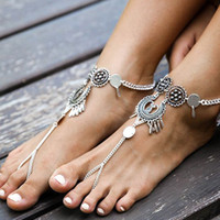 Wholesale Bohemia sexy retro family name wind hollow carved decorated feet Anklet drops