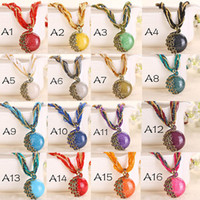 Wholesale Lady Multi Crystal Necklace - 2016 Cabochon and Crystal Peacock Pendant Necklace Multi Strands Twisted Glass Beads Choker Necklaces Popular 17 Colors for Lady Free DHL