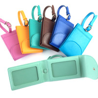 Wholesale Fashion Travel Luggage PU Leather Tags Suitcase Travel Bags Label Identifier Tags for Business luggage name holder Colorful with cheap price