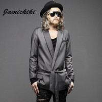 Wholesale Fall Men Blazers Fashion Streetwear Black Lace up Suit Jacket Men s Outdoor Dress Brand Clothing Masculino Costume Homme Jaqueta