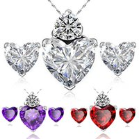 Wholesale Platinum Plated The Heart Crystal Pendant Necklaces Earrings sets For Women Hot Selling Fashion Jewerly Set