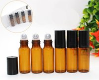 Backpacks balm essential - 300set ml Amber Glass Roller Bottles With Metal or glass Ball for Essential Oil Aromatherapy Perfumes and Lip Balms