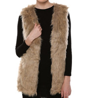 Wholesale Women V Neck Slim Long Faux Fur Vest Fashion Solid Color Sleeveless Casual Winter Coat Jacket For Female Elegant Outwear