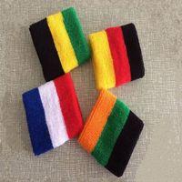 Wholesale 1 Pair New Cotton Striped Wristband Sport Sweatband Gym Badminton Padel Tennis Wrist Brace Carpal Tunnel Support Band Wraps